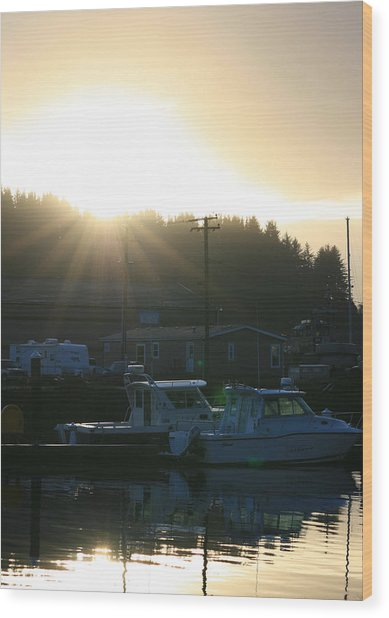Sunset On The Docks Wood Print by Joshua Sunday
