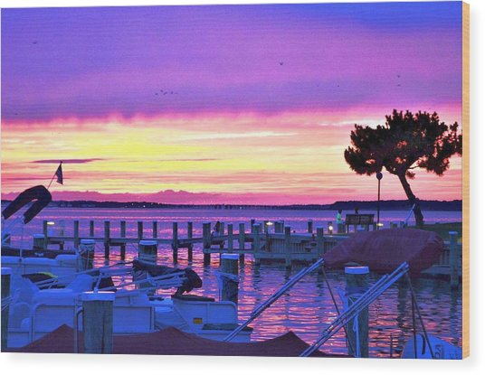 Sunset On The Docks Wood Print