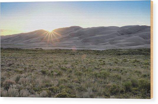 Sunset On The Dunes Wood Print