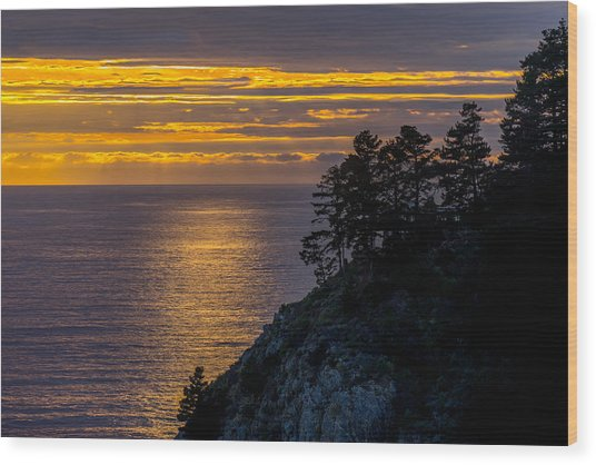 Sunset On The Edge Wood Print