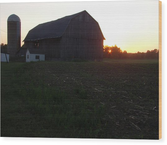 Sunset On The Farm Wood Print by Todd Zabel