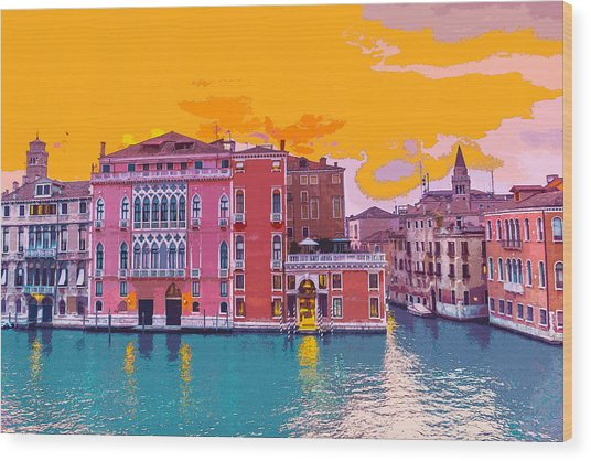 Sunset On The Grand Canal Venice Wood Print