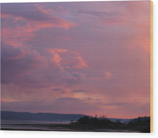 Sunset On The Hood Canal Wood Print