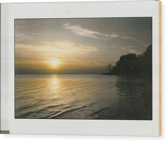 Sunset On The James Wood Print by Anne-Elizabeth Whiteway