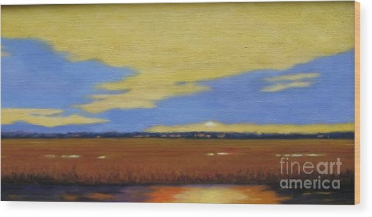 Sunset On The Marsh Wood Print by Laura Roberts