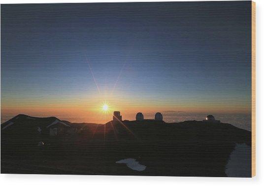 Sunset On The Mauna Kea Observatories Wood Print