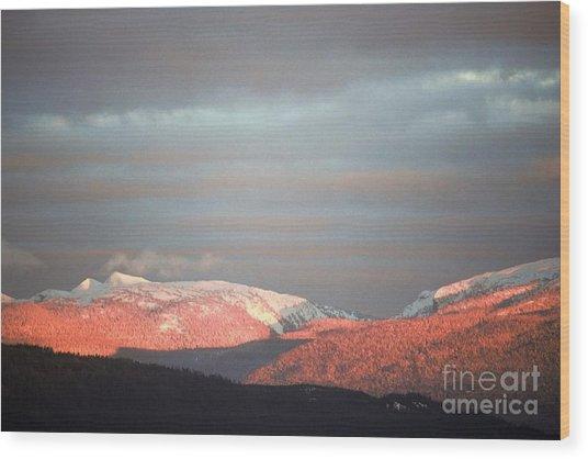 Sunset On The Monashees Wood Print