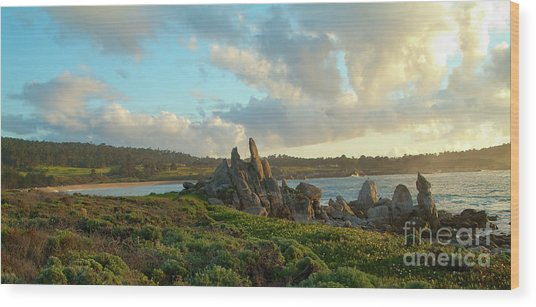 Sunset On The Pacific Ocean  Wood Print