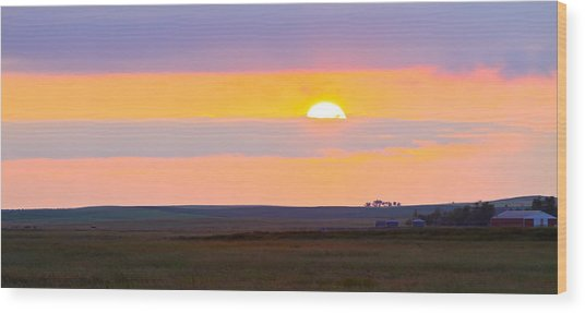 Sunset On The Reservation Wood Print