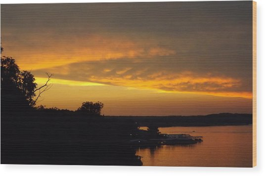 Sunset On The Shore  Wood Print