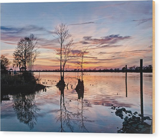 Sunset On The Waccamaw Wood Print