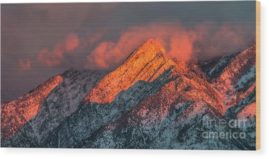 Wood Print featuring the photograph Sunset On The Wasatch by Spencer Baugh