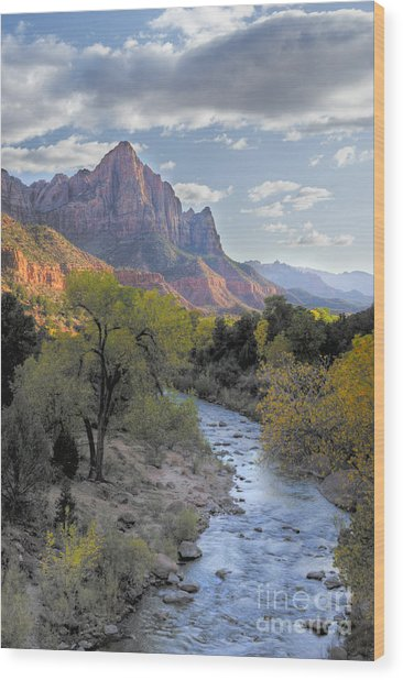 Sunset On The Watchman Wood Print