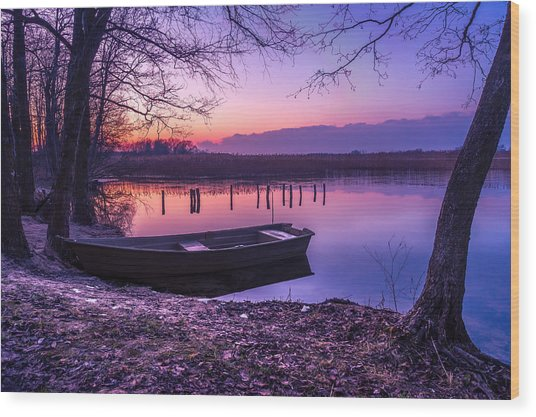 Sunset On The White Lake Wood Print