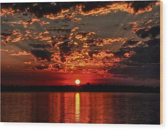 Sunset On The Zambezi Wood Print
