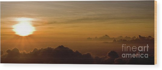 Sunset On Top Of Haleakala Wood Print by Denis Dore