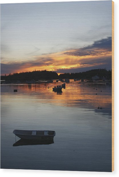 Sunset On Vinalhaven Maine Wood Print
