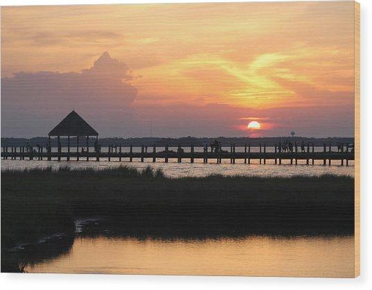 Sunset On Wetlands Walkway Wood Print