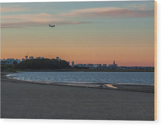 Sunset On Wollaston Beach In Quincy Massachusetts Wood Print