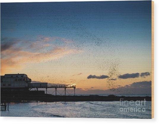 Sunset Over Aberystwyth Pier Wood Print