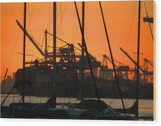 Sunset Over Alameda Harbor Wood Print by Charles  Ridgway