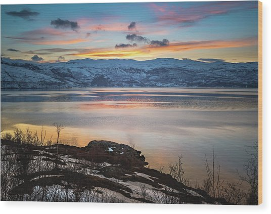 Sunset Over Altafjord Norway Wood Print
