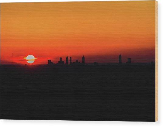 Sunset Over Atlanta Wood Print