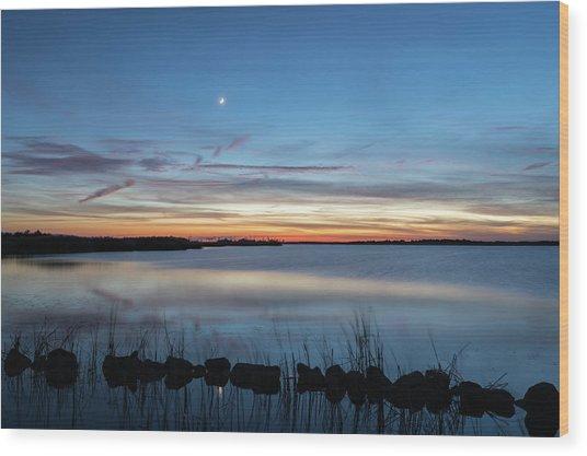 Sunset Over Back Bay Wood Print