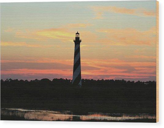 Sunset Over Cape Hatteras Light Wood Print
