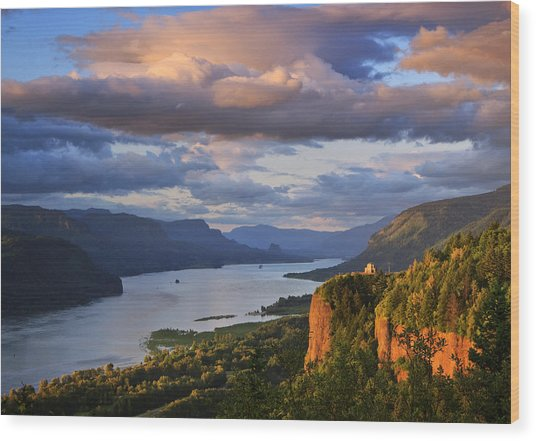 Sunset Over Crown Point Wood Print
