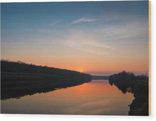 Wood Print featuring the photograph Sunset Over Desna River. Horytsya, 2014. by Andriy Maykovskyi