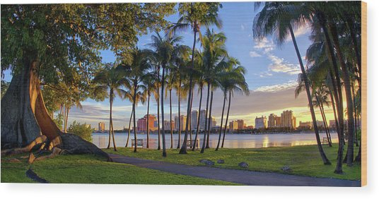 Sunset Over Downtown West Palm Beach From Palm Beach Island Wood Print