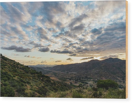 Sunset Over El Monte Valley Wood Print