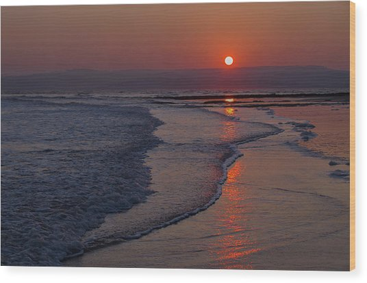 Sunset Over Exmouth Beach Wood Print