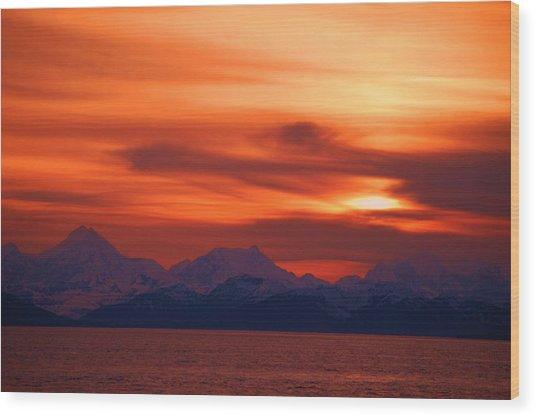 Sunset Over Glacier Bay Wood Print