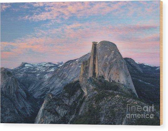 Sunset Over Half Dome Wood Print