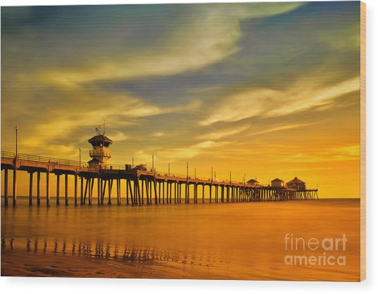 Sunset Over Huntington Beach Pier Wood Print