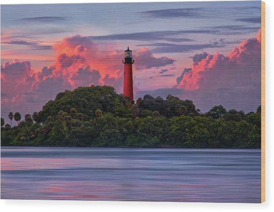 Sunset Over Jupiter Lighthouse, Florida Wood Print