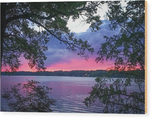 Sunset Over Lake Cherokee Wood Print