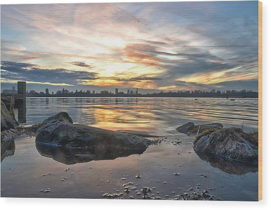 Sunset Over Lake Kralingen  Wood Print