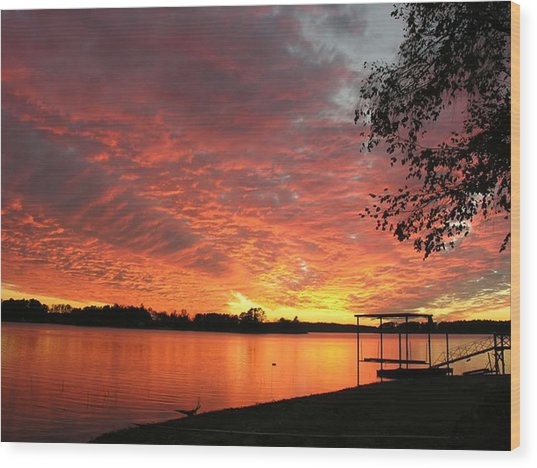 Sunset Over Lake Murray Wood Print