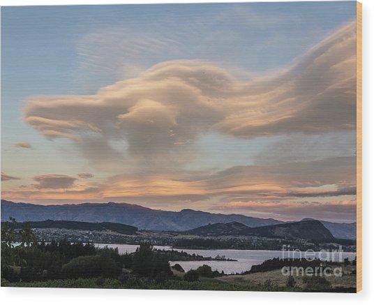 Sunset Over Lake Wanaka Wood Print