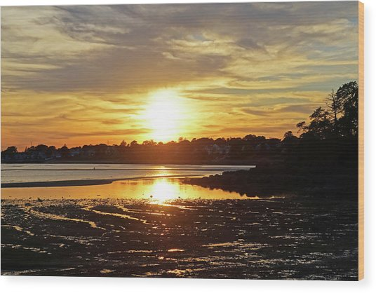 Sunset Over Lynch Park Beverly Ma Wood Print