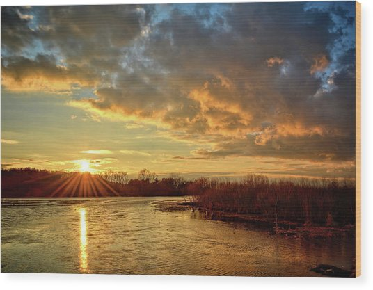 Sunset Over Marsh Wood Print