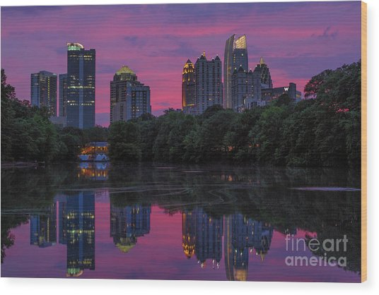 Sunset Over Midtown Wood Print
