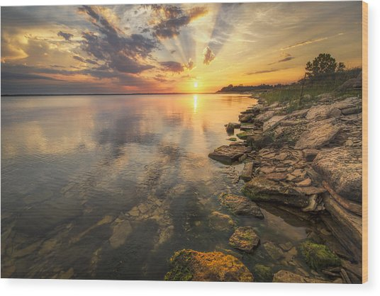Sunset Over Milford Lake Wood Print