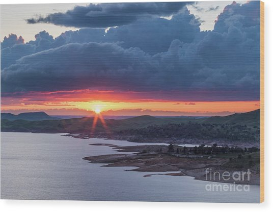 Sunset Over Millerton Lake  Wood Print