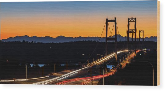 Sunset Over Narrrows Bridge Panorama Wood Print
