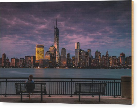 Sunset Over New World Trade Center New York City Wood Print