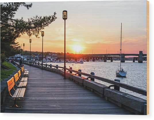 Sunset Over Newburyport Ma Merrimack River Newburyport Turnpike Wood Print